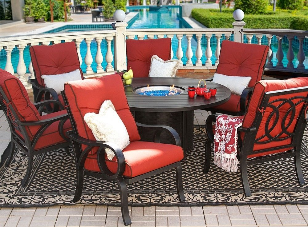 PATIO 7 PC DINING SET 60 ROUND FIRE TABLE SERIES 4000