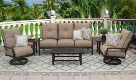 6PC SOFA, 2-CLUB SWIVEL ROCKERS, 2-END TABLES 21X42 COFFEE TABLE - $5,041.08