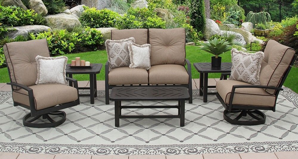 6PC LOVESEAT, 2-CLUB SWIVEL ROCKERS, 2-END TABLES 21X42 COFFEE TABLE