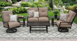 6PC LOVESEAT, 2-CLUB SWIVEL ROCKERS, 2-END TABLES 21X42 COFFEE TABLE - $4,387.68