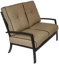 OUTDOOR PATIO LOVESEAT WITH SUNBRELLA SESAME LINEN CUSHION - ANTIQUE BRONZE - $1,329.57