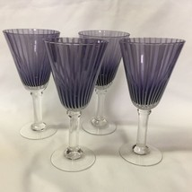 Lot of 4 Purple Goblets w/ White Frosted Stripe... - $39.99