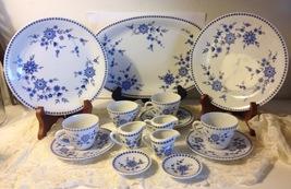 Seltmann Bavarian Blue 15 pc Lot Dots Doris Toy Creamer Dematasse Cups Platter