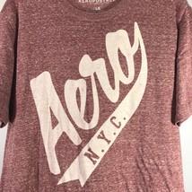 Aeropostale NYC Men Large Burgundy Graphic T-Shirt Super Soft Short Sleeve - $14.95