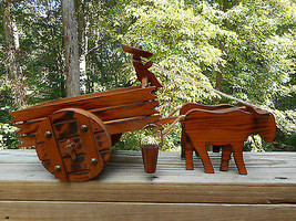 Vintage Wood Oxen Pulling Wagon/Cart With Man M... - $39.59