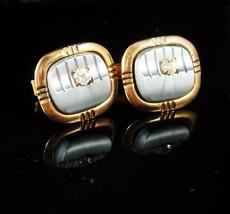 Tuxedo Cufflinks Vintage gold Cufflinks Grey gray lucite rhinestone cuff... - $85.00