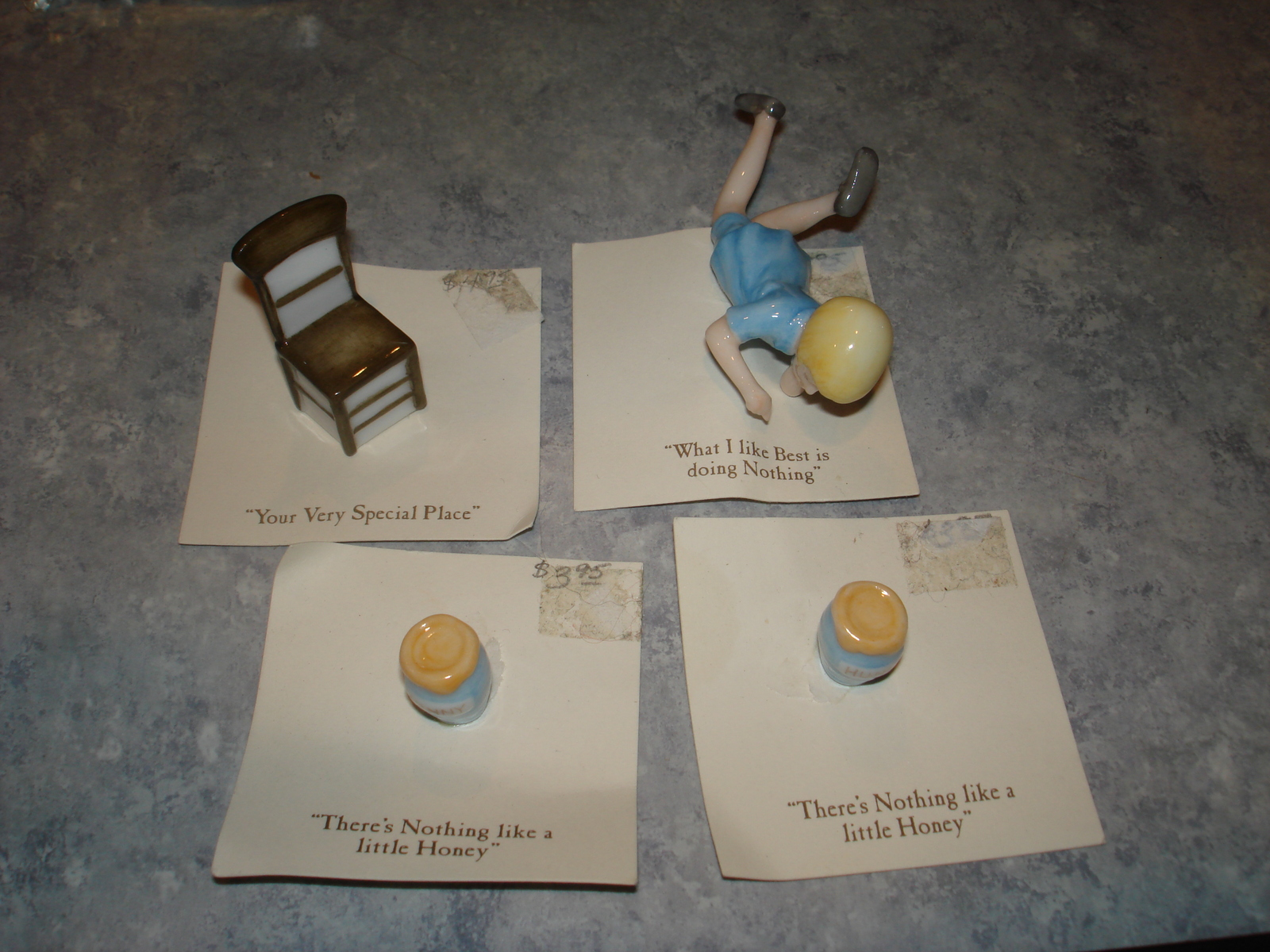 DISNEY WINNIE THE POOH SMALL CERAMIC FIGURES CHRISTOPHER ETC on CARD by MICHEL