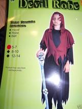 Boy's Size Small 5-7 Devil Robe Halloween Costume Black Robe Red Hood New - $18.00
