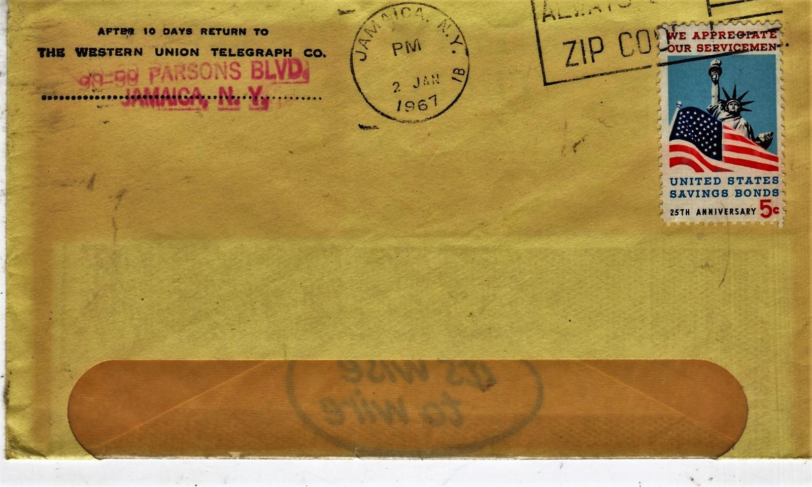 U. S. - 5 Stamped Envelop Canceled 1967