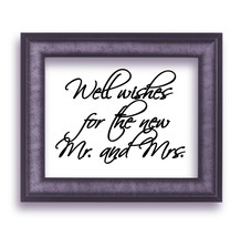 """Well wishes for the new Mr. and Mrs.Script Wedding Vinyl Sticker Decal 6""""h x 8""""w - $7.99"""
