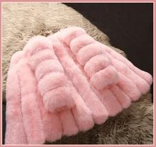 Long Full Pelt Blush Pink Fox Faux Fur with O Neck Long Sleeves Luxury Fur Coat image 2