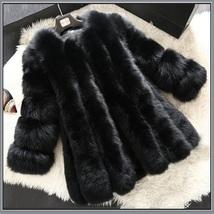 Long Full Pelt Classic Black Fox Faux Fur O Neck with Long Sleeves Luxury Coat image 2