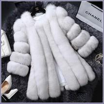 Long Full Pelt White Ash Tipped Fox Faux Fur O Neck Long Sleeves Luxury Fur Coat image 2