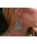 Bohemian Gypsy Silver Coin Dangle Earrings - $16.00