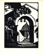 1939 George Raab Portal in Weimar Woodblock - $336.60