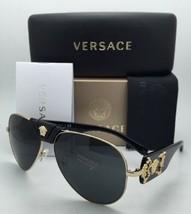 Neu Versace Sonnenbrille Ve 2150-q 1002/87 Gold & Schwarz Aviator Rahmen W/