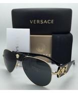 Neu Versace Sonnenbrille Ve 2150-q 1002/87 Gold & Schwarz Aviator Rahmen W/ - $259.63