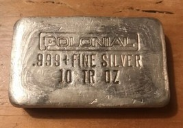 Colonial 10 Oz. 999 Silver Bar Vintage 1970s Old Pour Bar - Rare - $346.50