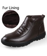 BDF Men Ankle Boot Business Shoe Winter Cow Leather Snow Boot Warm Footw... - $71.87