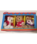 "2012 MACY'S lot of 3 mini plush TEDDY BEAR Christmas Ornaments 6"" in box - $34.99"