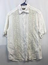 Cubavera.Barber Shop Vintage Cuban Style Shirt (Size M) White Tan - $16.63