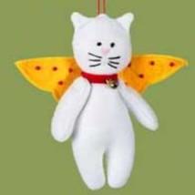 White Cat Felt Angel Christmas Ornament - $6.00