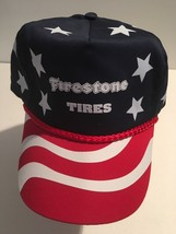 Firestone Tires Nissun Cap Hat Vintage Nwot Red White Blue Stars Stripes 1980'S - $61.74
