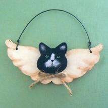 Wood B/W Kitty Cat Angel Christmas Ornament - $6.00