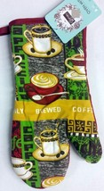 "1 Rare Jumbo Printed Kitchen Oven Mitt (13""), COFFEE CUPS, red back - $7.91"