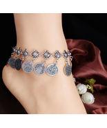 Bohemian Gypsy Silver Tassel Coin Anklet - $16.00