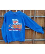 VTG Denver Broncos Sweatshirt-Super Bowl XXIV- S 34-38-Blue-1989 AFC Cha... - $37.39