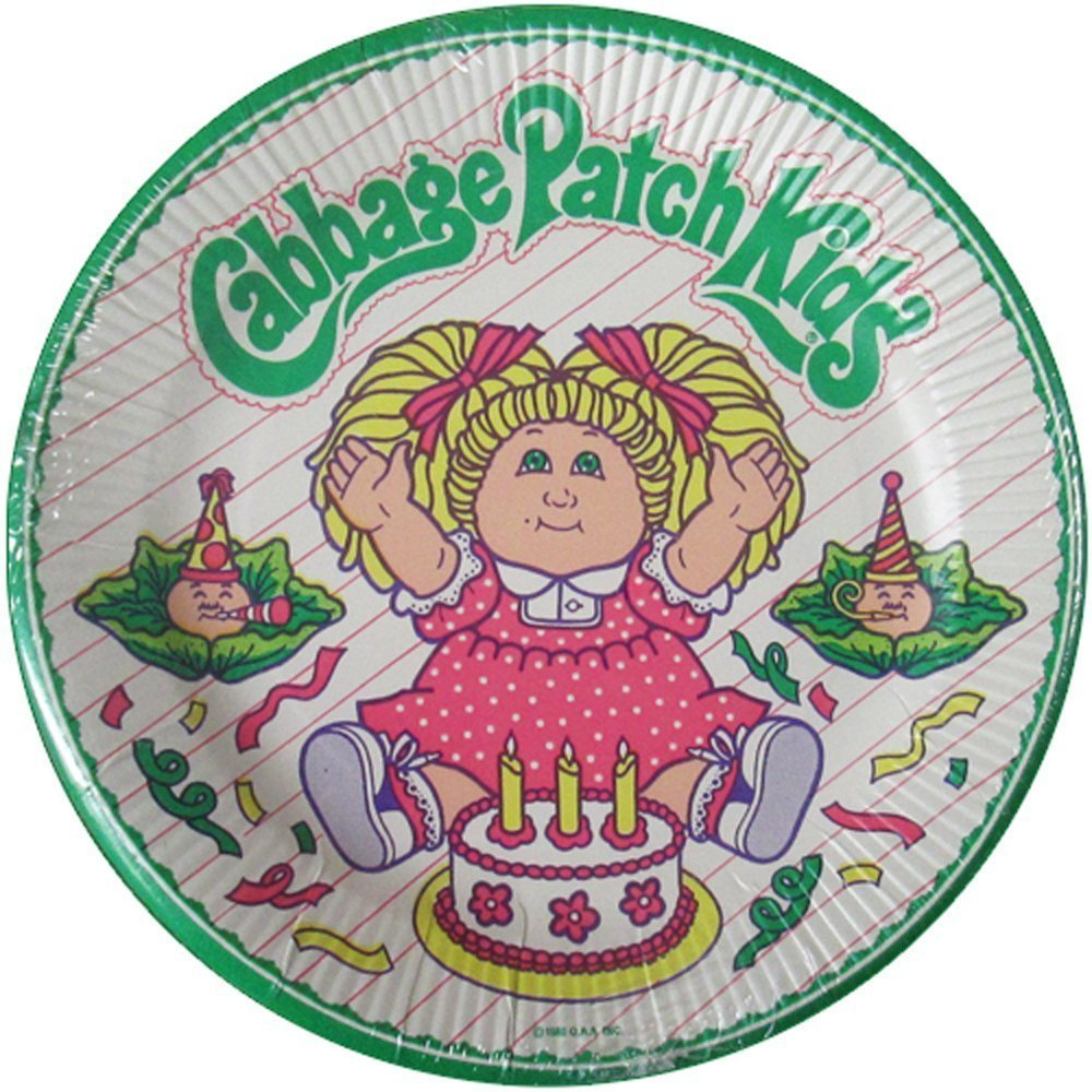 Cabbage Patch Kids Vintage 1985 Dessert Cake Paper Plates 8ct