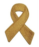Childhood Cancer Gold Awareness Ribbon Embroidered Iron On Patch Fund - $5.97+