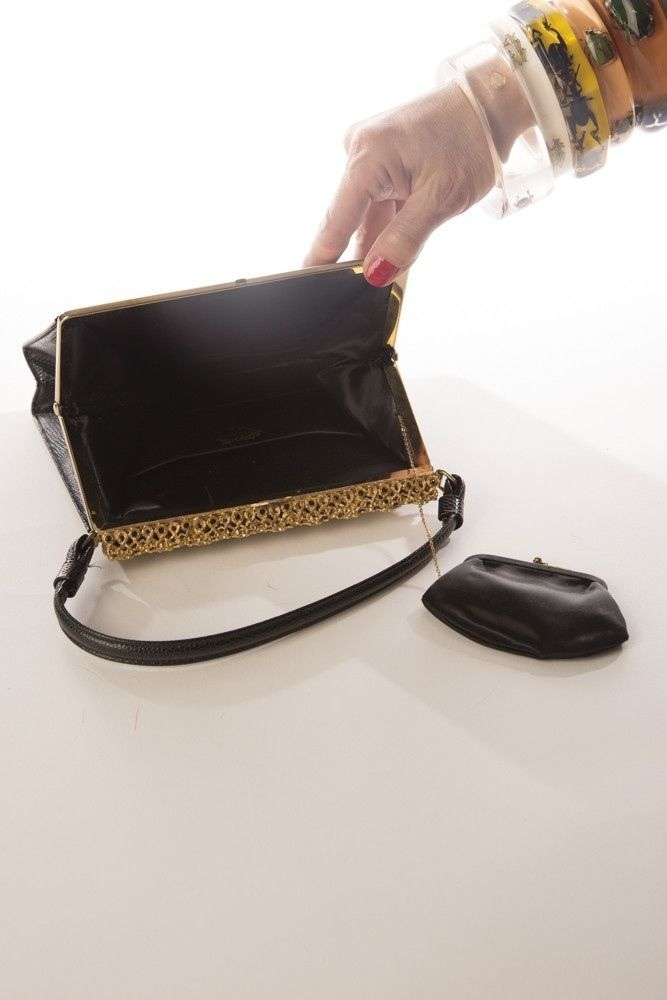 Encrusted Golden Frame Black Embossed Leather Handbag Vintage Purse Bag