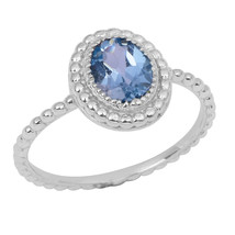 Gorgeous Oval Blue Topaz Solid 925 Sterling Silver Jewelry Ring Sz 7 SHRI0771 - $12.07