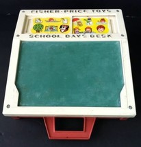 Vintage Fisher Price School Days Desk Chalk Board 1972 ABC 176 - $27.75
