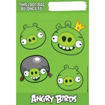 Amscan Fun-Filled Angry Birds Birthday Party Folded Loot Bags (Pack Of 8), Green - $3.85