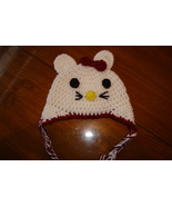Hand crocheted kitty beanie/cap/earflap hat photography prop for baby/in... - $15.00