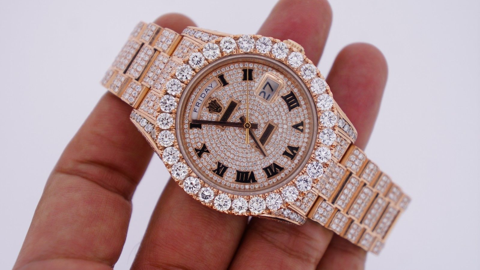 unused rolex day date ii 2 president rose gold 33 carat