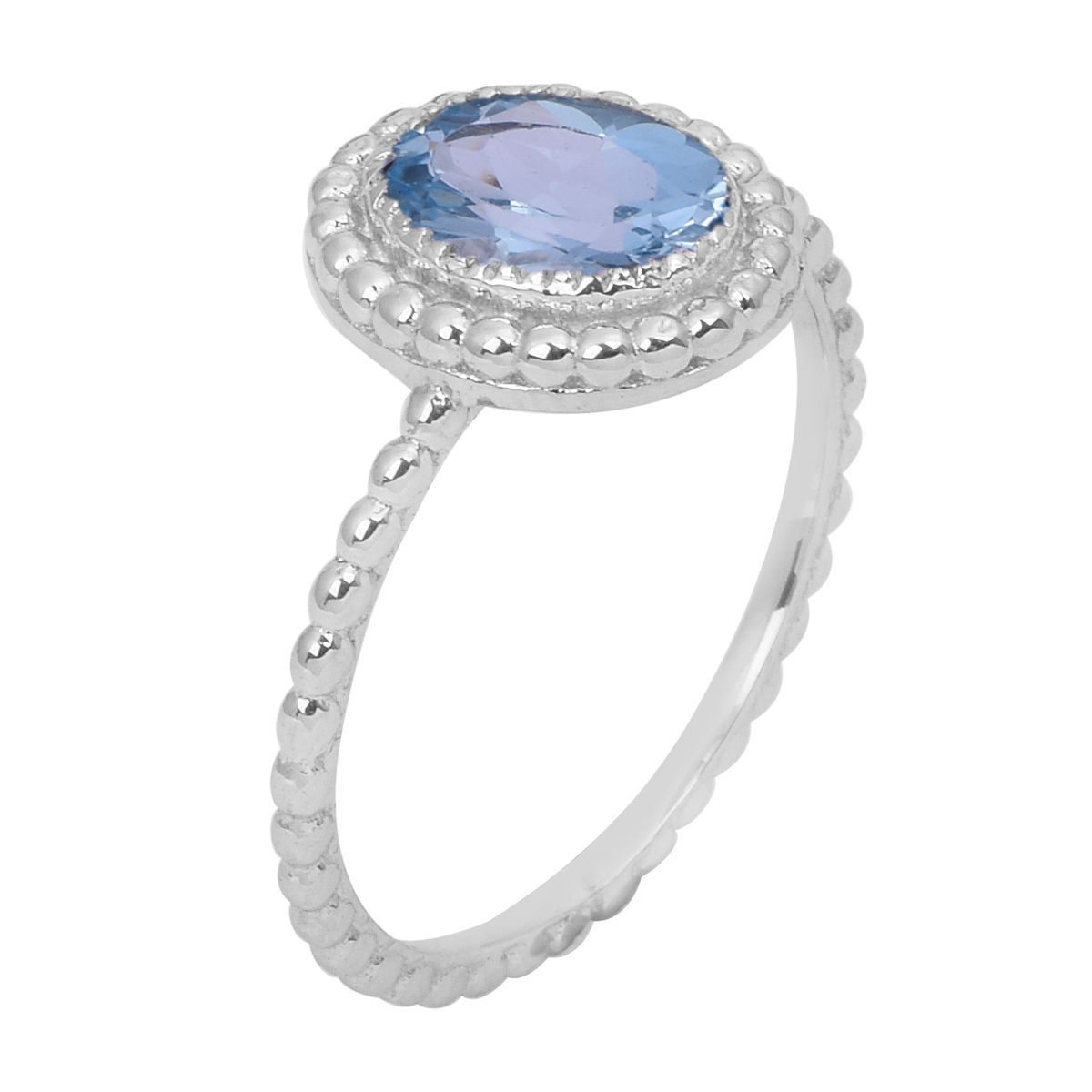 Gorgeous Oval Blue Topaz Solid 925 Sterling Silver Jewelry Ring Sz 7 SHRI0771