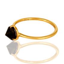 Smoky Quartz 18K Gold Plated Silver Prong Set Designer Women's Ring Jewelry - $14.17