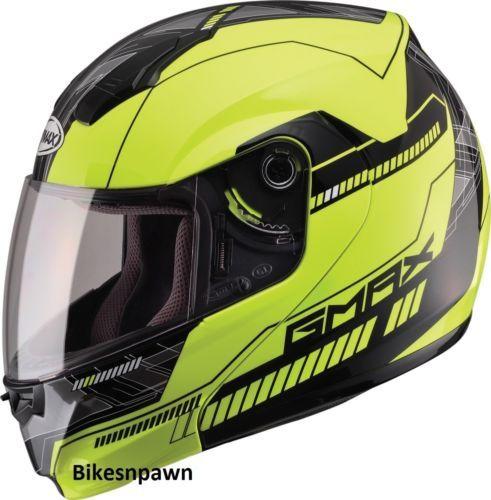 XL GMax MD04 Hi ViZ Yellow / Black Modular Street Motorcycle Helmet DOT