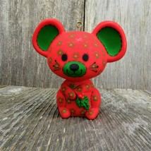 Vintage Mouse Ornament Red Calico Flowers Christmas Hallmark 1978 - $105.92