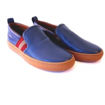 J-1844119 New Bally Herald Blue Jeans Leather Slip On Sneaker Shoes Size... - $289.99