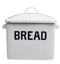 Enameled Metal Bread Box Storage Vintage Bin Retro Foods Keeper White NEW - $68.29
