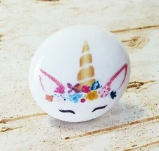"Handcrafted Unicorn Knobs, Watercolor Style 1.5"" Cabinet Knob, Nursery D... - $5.94"