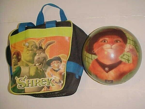 Primary image for Shrek Bowling Ball with Bag Puss in Boots Kids 9 Pounds Brunswick 2004