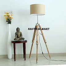 Modern Contemporary Tripod Floor Lamp With Fabric Brown Shade By Nauticalmart - $197.01
