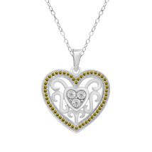 "0.28 Ct Citrine & Clear Diamond White Gold Over Heart Pendant With 18"" C... - $73.38"