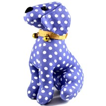 Delton Blue Polka Dot Fabric Puppy Dog Jingle Bell Small Door Stopper Doorstop image 2